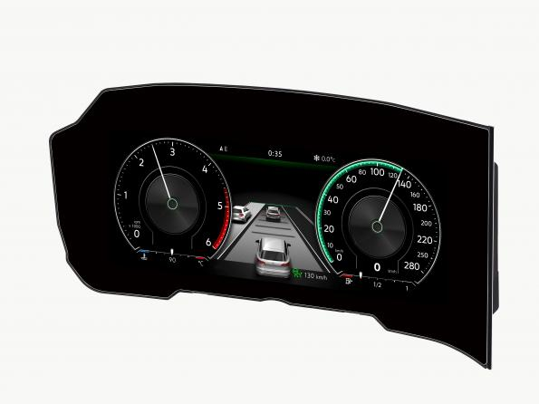 Curved instrument cluster for the first time in series vehicle