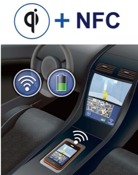 Wireless charging solution with NFC communication for in-car use