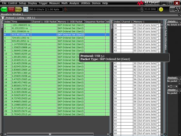 USB 3 1 Gen 2 Protocol trigger and decode scope software
