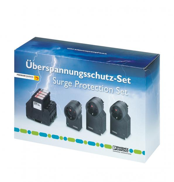 Practical lightning and surge voltage protection set for building installations