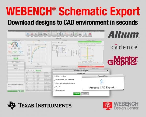 New WEBENCH Schematic Export online tool supports CAD