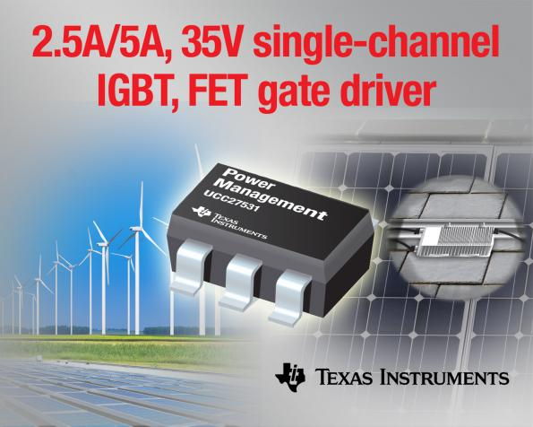 Single-channel, 2 5-A/5-A gate drivers target IGBT and SiC