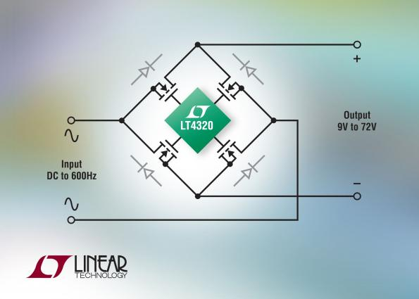 Diode bridge controller minimizes rectifier heat and voltage loss