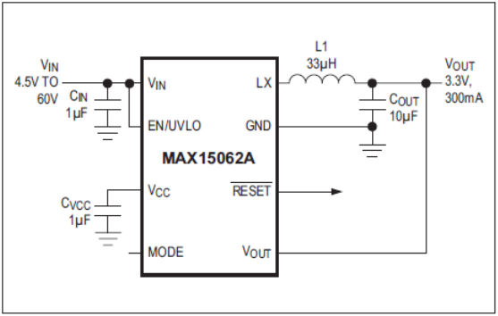 60V, 300mA, ultra-small, synchronous step-down DC-DC converter