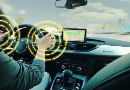 Steering wheel sensors detect driver's hand slip