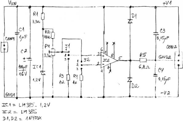 simple power supply voltage splitters based on audio amplifiers part 36 10w Audio Amplifier With Ic Tda2002 Circuit Diagram #19