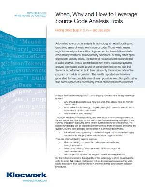 When, Why and How to Leverage Source Code Analysis Tools