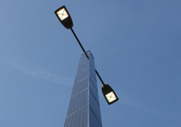 Light pole is powered by sunlight