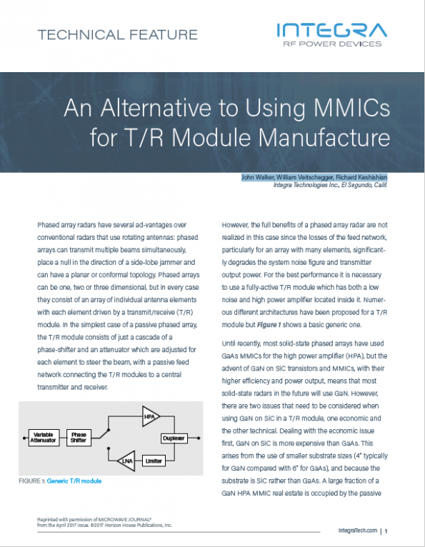 Integra - An Alternative to Using MMICs for T/R Modules Manufacture