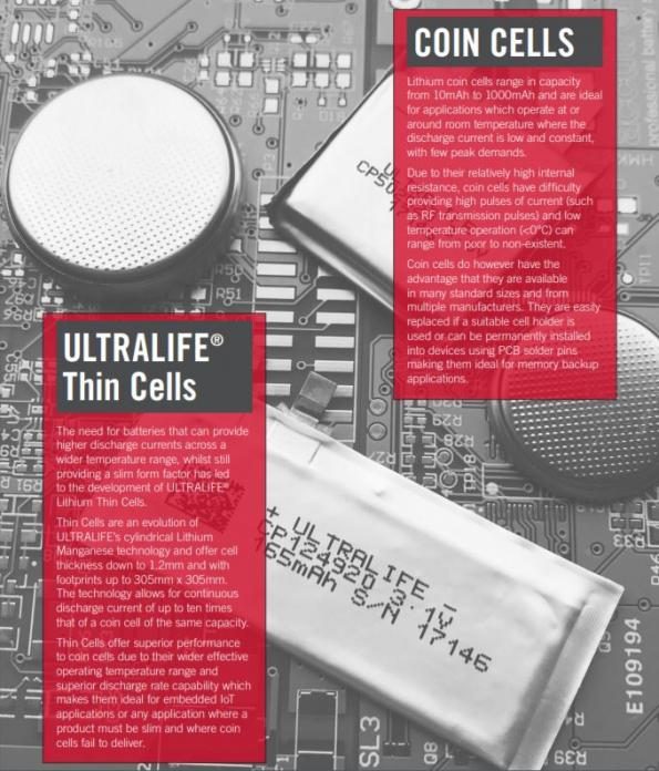 Lithium Coin Cells or ULTRALIFE Thin Cells