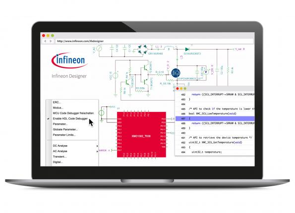 Online prototyping with A/D simulation, in Infineon Designer
