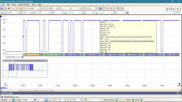 Modbus decode on Pico USB scope pins down PLC problems