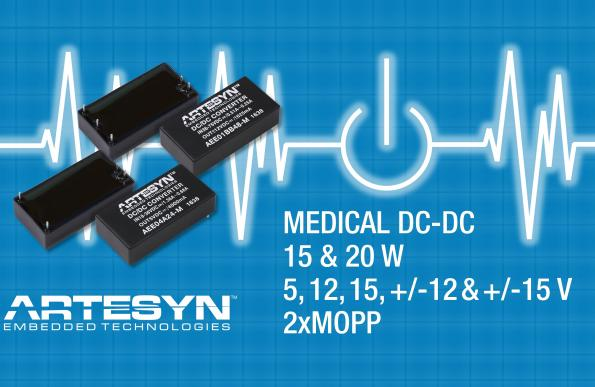 15/20W DC-DC converters come with medical safety approvals