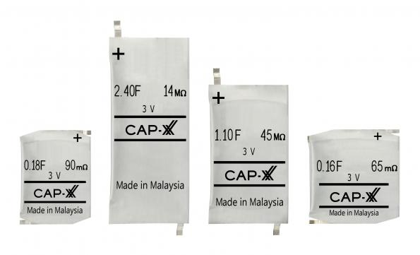 3 Volt prismatic supercapacitors are only 0.9mm to 1.9mm thick