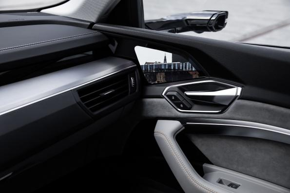 Audi's e-tron with OLED virtual exterior mirrors, on the inside