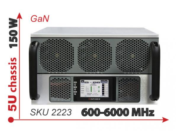 50-W GaN system amplifier covers 600- to 6000-MHz