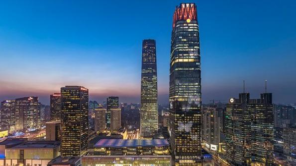 China World Trade Center tower embedded with over 400,000 LEDs