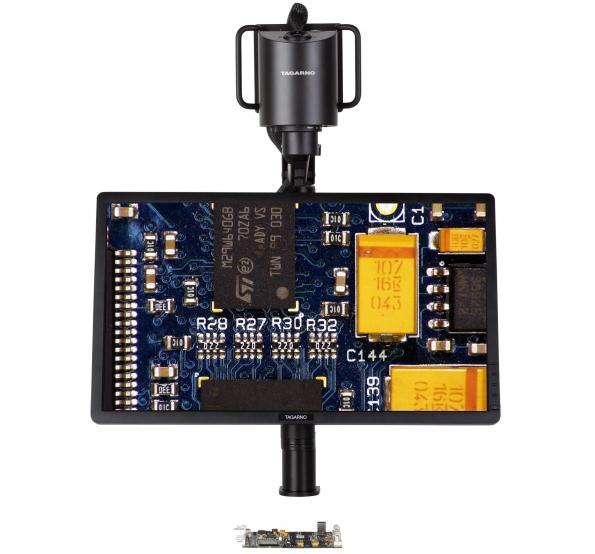 Digital microscope allows large PCBs inspection in ergonomically correct working positions