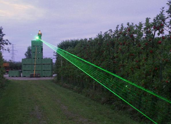 Laser system to scare birds, protects crops