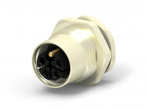 Higher power L-code M12 power connectors