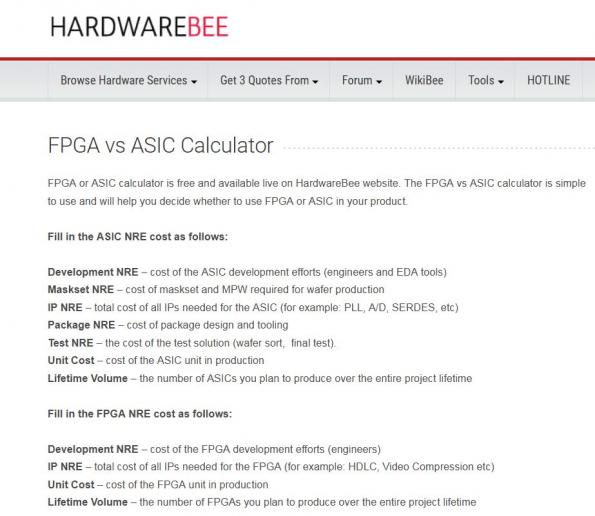 Online tool assists in the choice between FPGAs and ASICs
