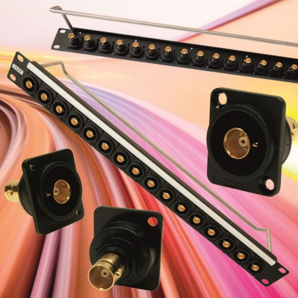 Gold-plated 75Ω BNC feed-through connector supports 12GHz bandwidth