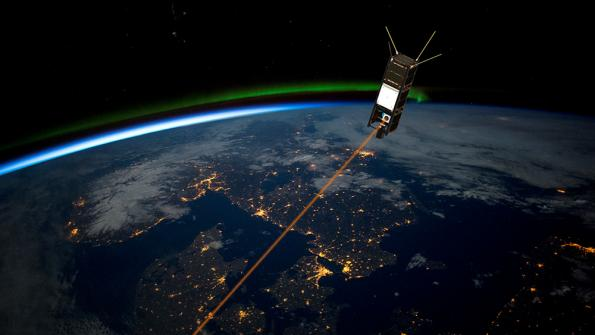 Artistic illustration of the PIXL mission in orbit operating its laser down-link (GomSpace)