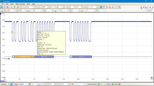 DALI decoding and analysis through USB PC oscilloscope
