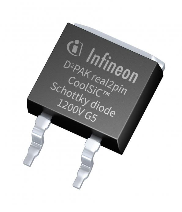SiC diodes in a two pin surface mount package from Infineon increase safety margins and simplify power designs