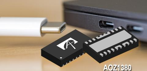 TheAOZ1380from Alpha and Omega Semiconductor is a USB-C PD smart protection switch combining both current source and sink function into a thermally enhanced 3mm x 5.2mm DFN package.