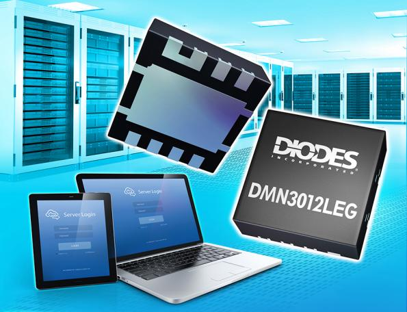 The DMN3012LEG from Diodes is two MOSFET devices in a 3D stacked package that reduces the footprint of power designs.
