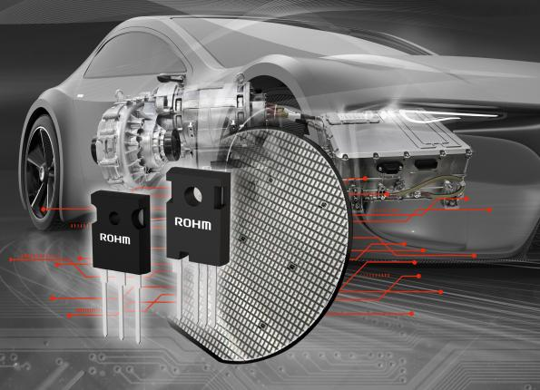 Rohm's fourth generation 1200V silicon carbide SiC MOSFETs cut on resistance by 40 percent and parasitic capacitance by half.