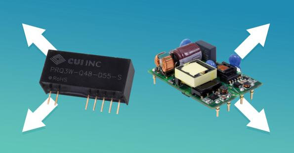 CUI has launched four isolated DC-DC converter designs from 3W to 30W that use dual asymmetric outputs for the first time.