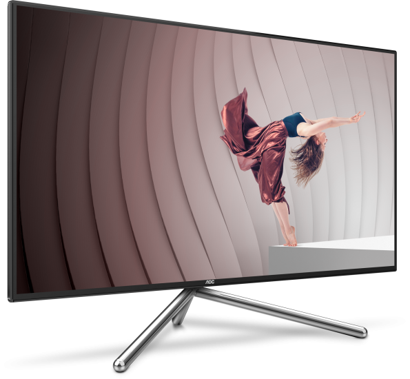 The U32U1 frameless 4K UHD display from AOC is designed by Studio F. A. Porsche and acts as a USB-C charging hub
