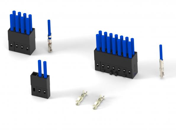 """TE's AMPMODU connector system has a centreline distanceof 2 mm to occupy 38 percent less space on a PCB than connectors with a 2.54 mm [0.100""""] centreline."""