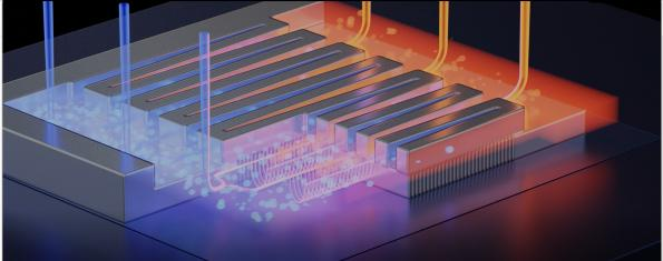 Researchers at EPFL in Switzerland have created a single chip that combines a gallium nitride (GaN) power transistor and micro-fluidic cooling system.