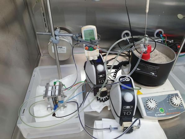 Test lab for ferrocene flow battery aqueous electrolyte