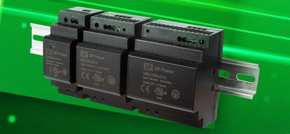 DIN rail AC-DC power supplies run to 100W
