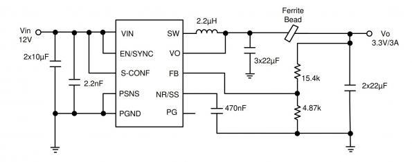 Low noise buck converter integrates ferrite bead compensation