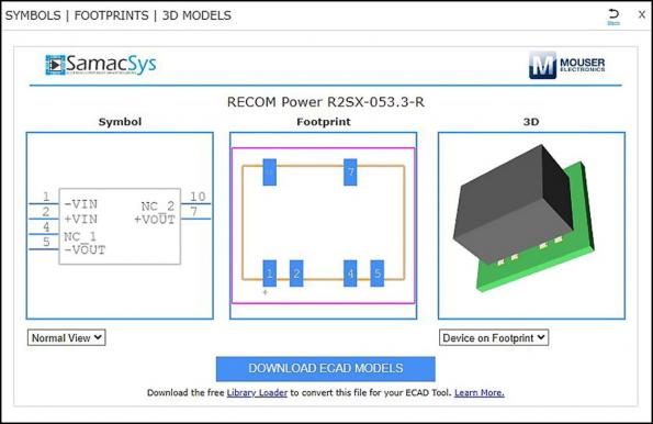 Recom, Samacsys team for power converter EDA models