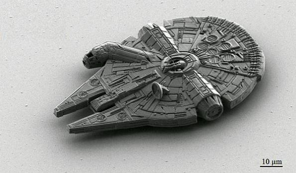Microscopic 3D printed Millenium Falcon is 100 microns long