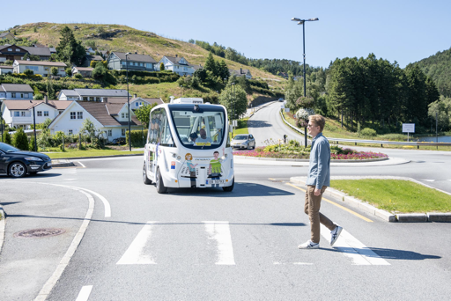 Autonomous busses Gudrun and Gerard from Navya in France are being used for a pilot scheme in Gjesdal in rural Norway