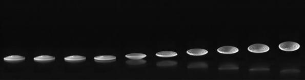 High-speed images of an autonomously jumping polymer shell. Image courtesy of UMass Amherst.