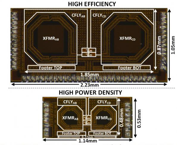 Two versions of the integrated on-chip DC-DC converter