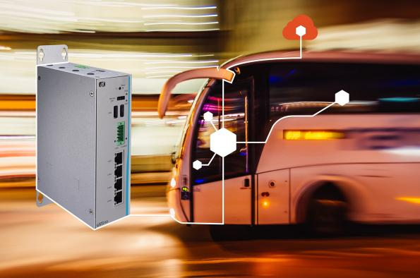 Compact DIN-rail mounted fanless in-vehicle IoT Gateway