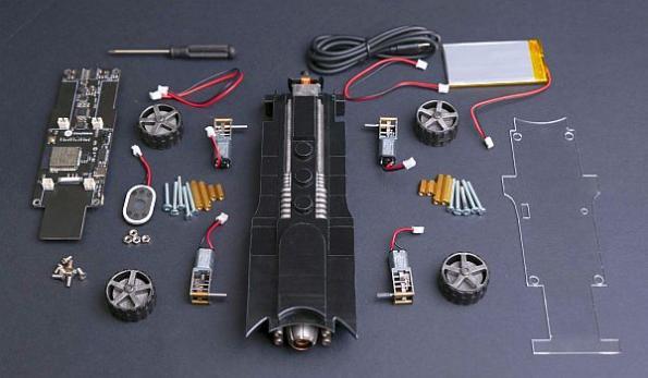 Batmobile AI robot car STEM kit teaches electronics, coding