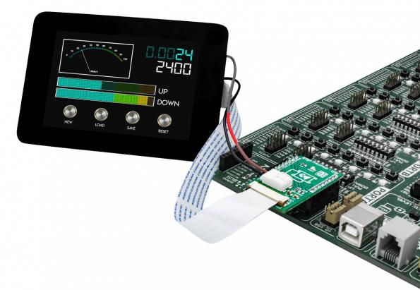 New click board interfaces 8-bit MCUs to fully featured touch displays