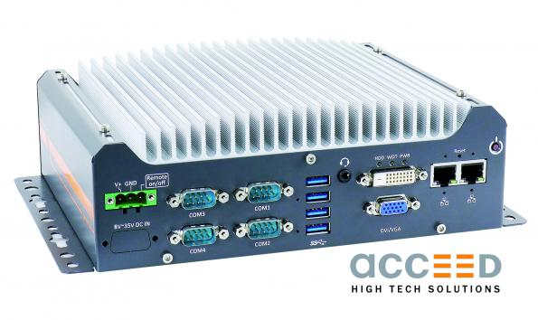 Acceed's new Nuvo-7501 industrial PC provides a 50 percent performance over its predecessors in a 255 x 173 x 76 mm size.