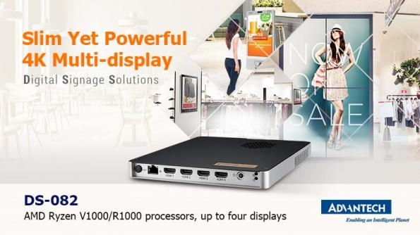 Advantech has launched a slim and powerful 4K digital signage solution that can provide high-quality graphics to up to four displays.