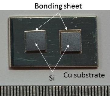 A silicon die attach example to a lead frame using Ag films after treated at 250°C